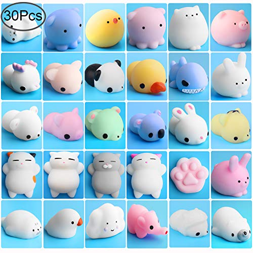 Outee Mochi Animals Stress Toys, 30 Pcs Mochi Squishy Toy Mini Animal Squishy Stress Relief Animal Toys Mochi Squeeze Toys Mini Seal Bear Cat Tiger Pig Smile Cloud Squishies, Random Color