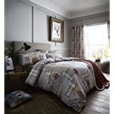 STAG HEADS PATCHWORK TARTAN PLAID GREY BROWN COTTON BLEND CANADIAN QUEEN SIZE (230CM X 220CM - UK KING SIZE) DUVET COMFORTER COVER