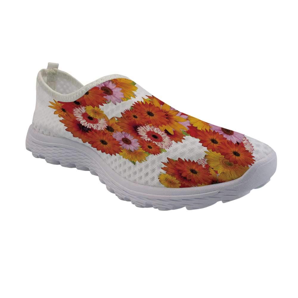 TecBillion Letter S Jogging Walking Shoes,Organic Color Palette Gerbera Bouquet Natural Looking Petals Letter S Alphabet for Women Girls,US Size 5