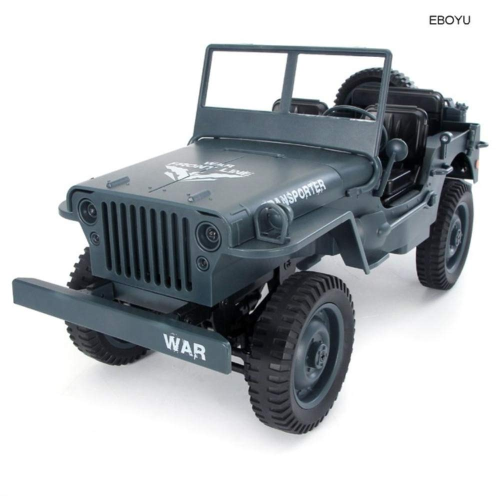 RC Car 1/10 2.4G 4WD Convertible Remote Control car Light Jeep Four-Wheel Drive Off-Road Military Truck Climb car Toy,Green HUAXING