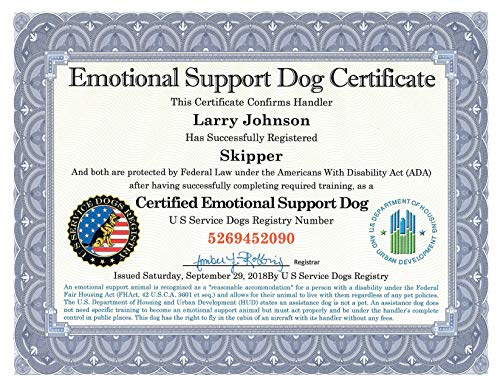Official Emotional Support Dog Certificate & Leather Padded Folder - Fully Customized with Registration to U S Service Dogs Registry