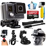 GoPro HD HERO Waterproof Action Camera Camcorder with 32GB Deluxe Accessories Bundle includes microSD Card + Floating Handle + Selfie Stick + Stabilizer Holder + Car Windshield Suction Cup (CHDHA-301)