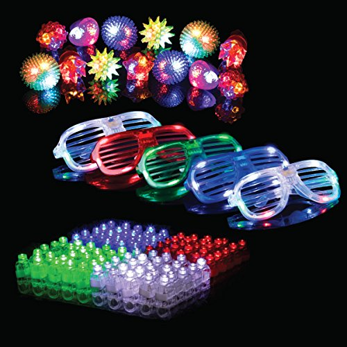 50-Pc. LED Party Favors for Adults & Kids (5 Slotted Sunglasses, 13 Jelly Rings & 32 Finger Light-Up Toys) – Glow-in-the-Dark Party Supplies
