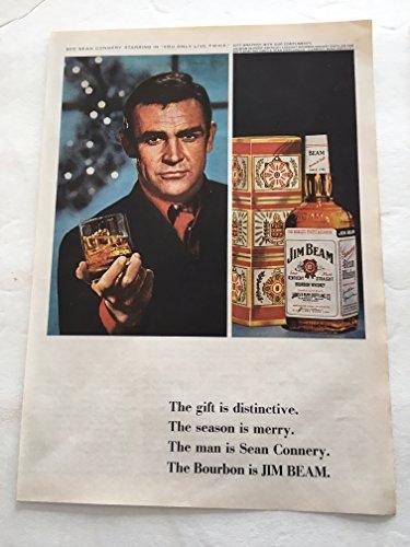 1966 Sean Connery Jim Beam Whiskey Magazine Print Advertisement