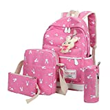 Clearance 4PC Backpack Sets JOYFEEL Women Girls Rabbit Animals Travel Shoulder Bag Backpack+School Bag+Handbag+Pencil Case Purse