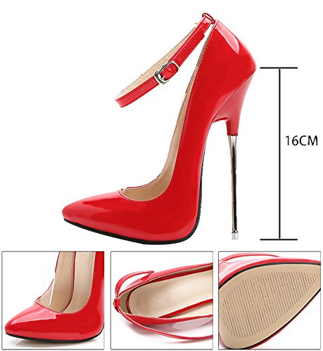 Heel Women's Jiu Shoes Prom PU Red Pumps High Pointed Evening Ankle Toe Patent Strap Stiletto du Super P5wqfp