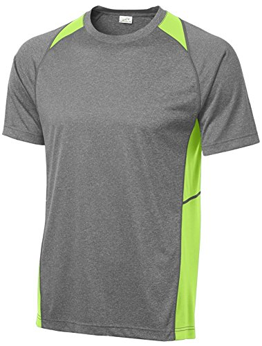 - Joe's USA Men's Athletic Heather All Sport Training T-Shirt-Heather/Lime-XL