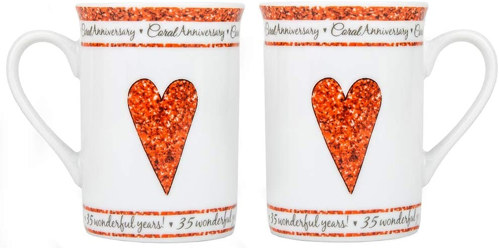 Haysoms Beautifully Designed 35th Coral Wedding Set of Ceramic Mugs Dishwasher and Microwave Safe with Decorative Keepsake Box
