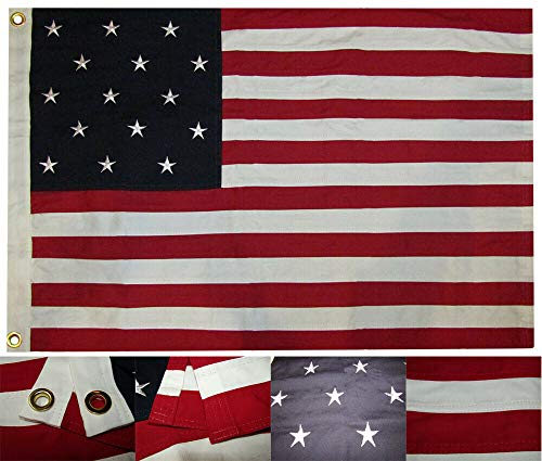 Banner 100% Cotton - Ant Enterprises 2x3 Embroidered 15 Star Spangled Banner 2'x3' Premium 100% Cotton Flag Grommets