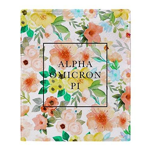 CafePress - Alpha Omicron Pi Floral - Soft Fleece Throw Blanket, 50