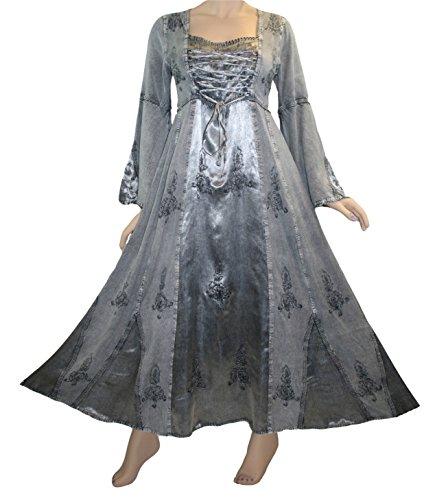 DR 003 Agan Traders Renaissance Dress Gown (2X, Silver) (Renaissance Dress Plus Size)