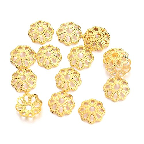 (18k Gold Plated Small Solid Brass Filigree Flower Bead Caps for Jewelry Making- 6mm)