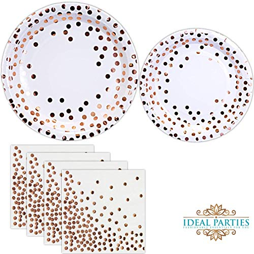 150 PCS Rose Gold Dot Disposable Paper Plates and Napkins Set; Foil Design 50 Dinner and Dessert Plates and 50 Napkins for Bridal Baby Shower Wedding Anniversary Engagement Birthday Party and more!