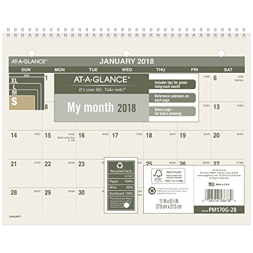 AT-A-GLANCE Monthly Desk/Wall Calendar, Recycled, January 2018 - December 2018, 8-1/2