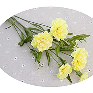 Artificial Flowers for Christmas Home Wedding Decor Accessories DIY Fake Plastic Flowers Silk Carnation Yellow