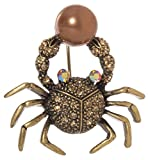 Crab with Imitation Pearl Brooch Pin 2.5'' with Exquisite Detail and Crystal Accents