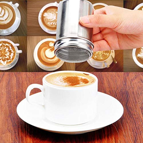 Miobl Coffee Filters Stainless Steel Chocolate Powder Shaker Cocoa Flour Salt Sugar Cappuccino Sifter Lid Shaker Tools Kitchen Gadget
