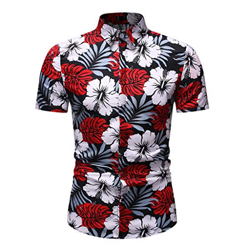 (Men's Printing Flower Shirts Summer Business Leisure Short-Sleeved Turn-Down Shirt Button Top Blouse (M, Red))