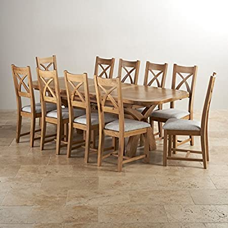 Oak Furniture Land Hercules 6ft Extending Large Dining Set In Natural Solid 10 Cross