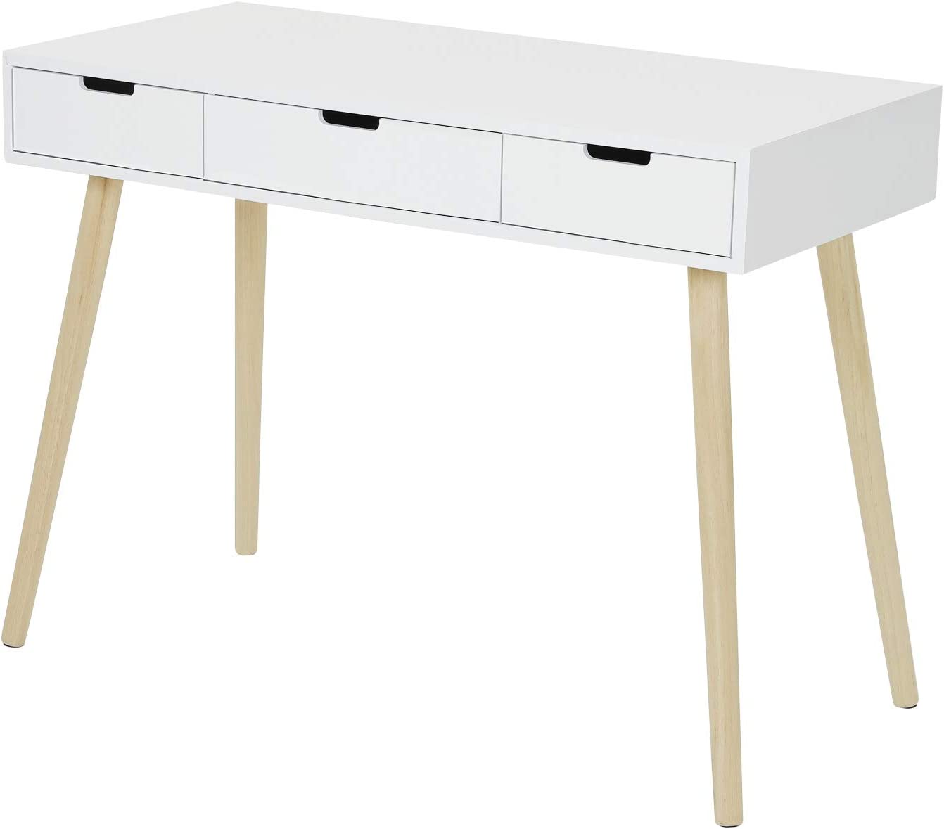 Amazon Com Tiptiper Writing Desk With 3 Drawers Modern Home Office Desk With Large Storage Space Study Desk With Oak Legs For Small Space White Kitchen Dining