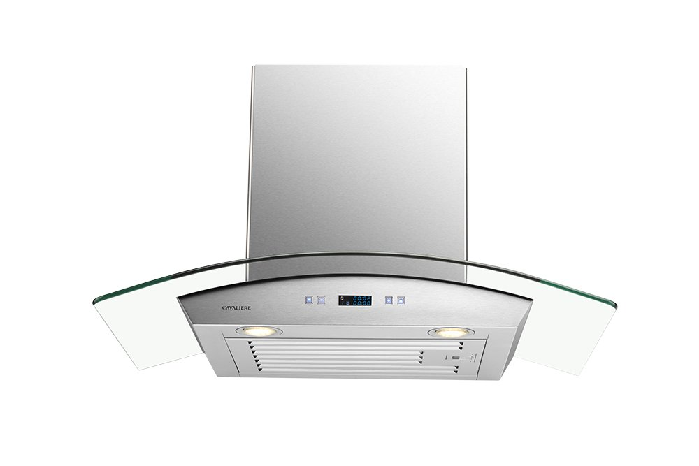 CAVALIERE 30'' Wall Mounted Stainless Steel / Glass Kitchen Range Hood 900 CFM SV218D-30 by CAVALIERE