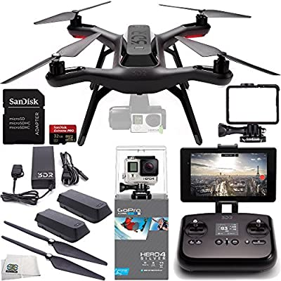 3DR Solo Quadcopter (No Gimbal) with Manufacturer Accessories + Extra 3DR Flight Battery + 3DR Propeller Set + GoPro HERO4 Silver + SanDisk 32GB Extreme PRO microSDHC Memory Card + MORE