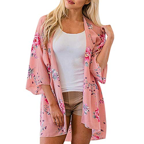 - FORUU Cardigans for Womens, Ladies Floral Printed Loose Short Half Sleeve Chiffon Kimono Tops Blouses Summer Holiday Girlfriend Lover Wife Party Beach Prom Cocktail Evening Club