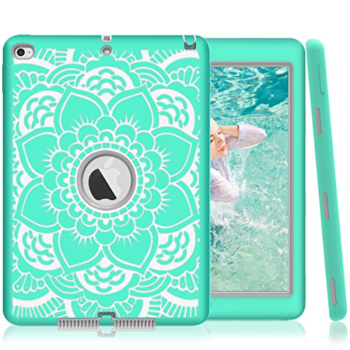 iPad Air 2 Case, iPad A1566/A1567 Case, Hocase Shock Absorbent Hybrid Dual Layer Hard Rubber Protective Case with Cute Mandala Floral Print for Apple iPad Air 2nd Generation (2014) - Teal / Grey
