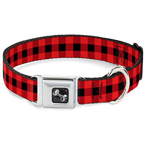 - Buckle-Down Seatbelt Buckle Dog Collar - Buffalo Plaid Black/Red - 1.5
