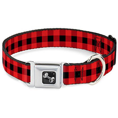 Buckle-Down Seatbelt Buckle Dog Collar - Buffalo Plaid Black/Red - 1.5