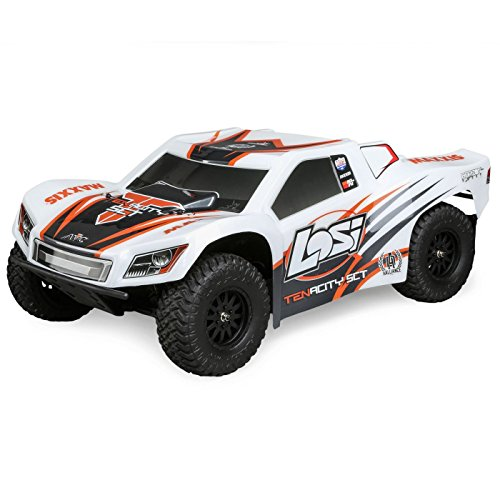 Losi Tenacity SCT Brushless 4WD RC Short Course Truck RTR with DX2E Transmitter with AVC (Battery and Charger Not Included), 1/10 Scale (White/Orange)