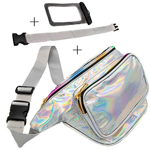 Holographic Fanny Pack with Belt Extender - Plus Waterproof Phone Pouch - 3 Pockets, Adjustable and Fashionable Waist Bag for Travel, Festival, Party, Rave, Cruise; Irridescent for Women, Men, Kids (Best Bum Bags For Travelling)