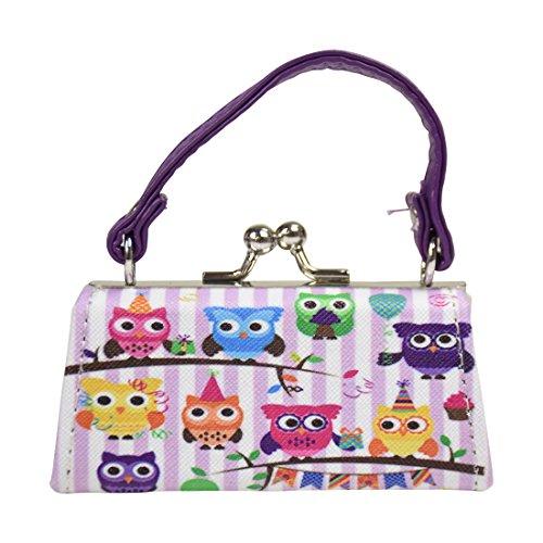 Owl Lipstick Case with Handle Kids Coin Mini Purse - Purple