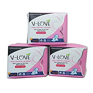 VLOVE Sanitary Pads Ultra Thin Regular with Wings, Negative in Strip, Unscented 30Count( Pack of 3)