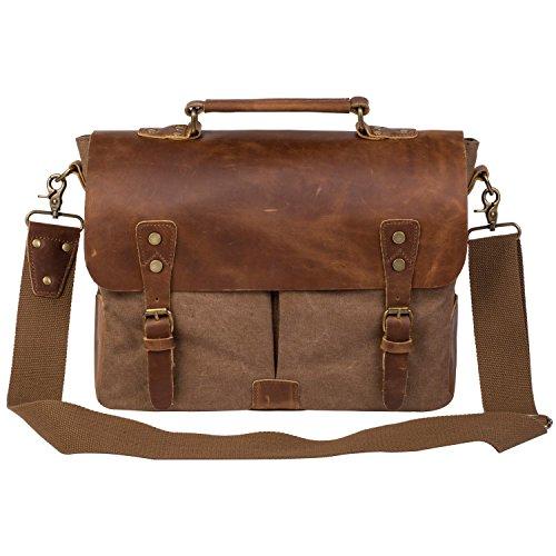 Peacechaoscotton Canvas Genuine Crazy-horse Leather Cross Body Laptop Messenger Bag - Men Business Vintage Handbag/Briefcase - (Brown)