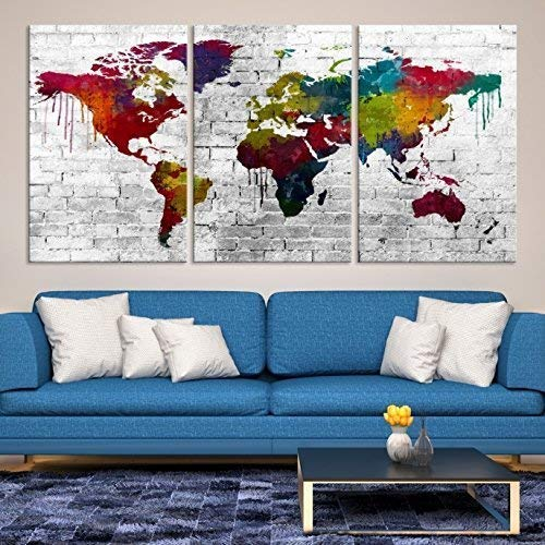 Canvas Print World Map Framed Wall Art Picture Image 020213-2