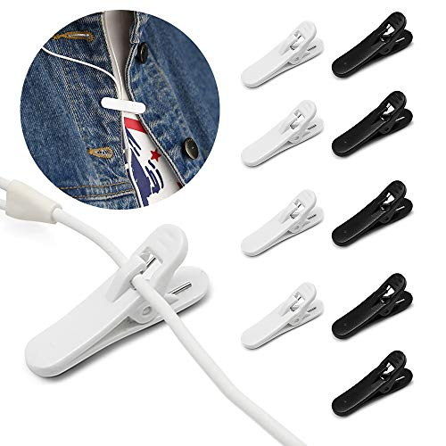 Places Holder (Earphone Wire Clips, iMangoo [10 Pack] Headphone Cable Clip Headset Cable Clips Holder Clothing Clip Fixing Headphone Wire in Place While Fitting Running Hiking Doing Exercise White & Black)
