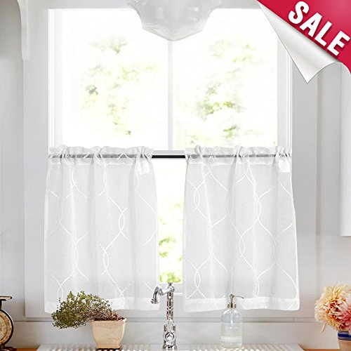 Vangao Sheer Kitchen Tier Curtains Moroccan Trellis Pattern Embroidered Semi Sheer White Cafe Curtains 45 inch for Bathroom Short ()