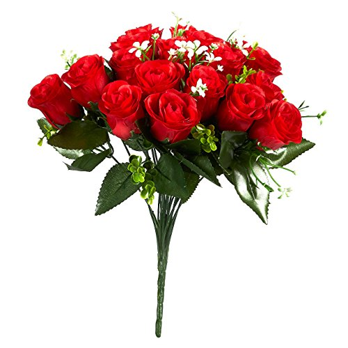 Juvale Silk Red Roses - Real Touch Fake