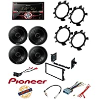 Pioneer FH-X720BT 2-DIN CD Receiver with Mixtrax and Bluetooth +TS-G1645R 250W 6.5 2-Way G-Series Coaxial Car Speakers W/ Dash Mounting Installation Kit+ Radio Antenna Adapter And Harness
