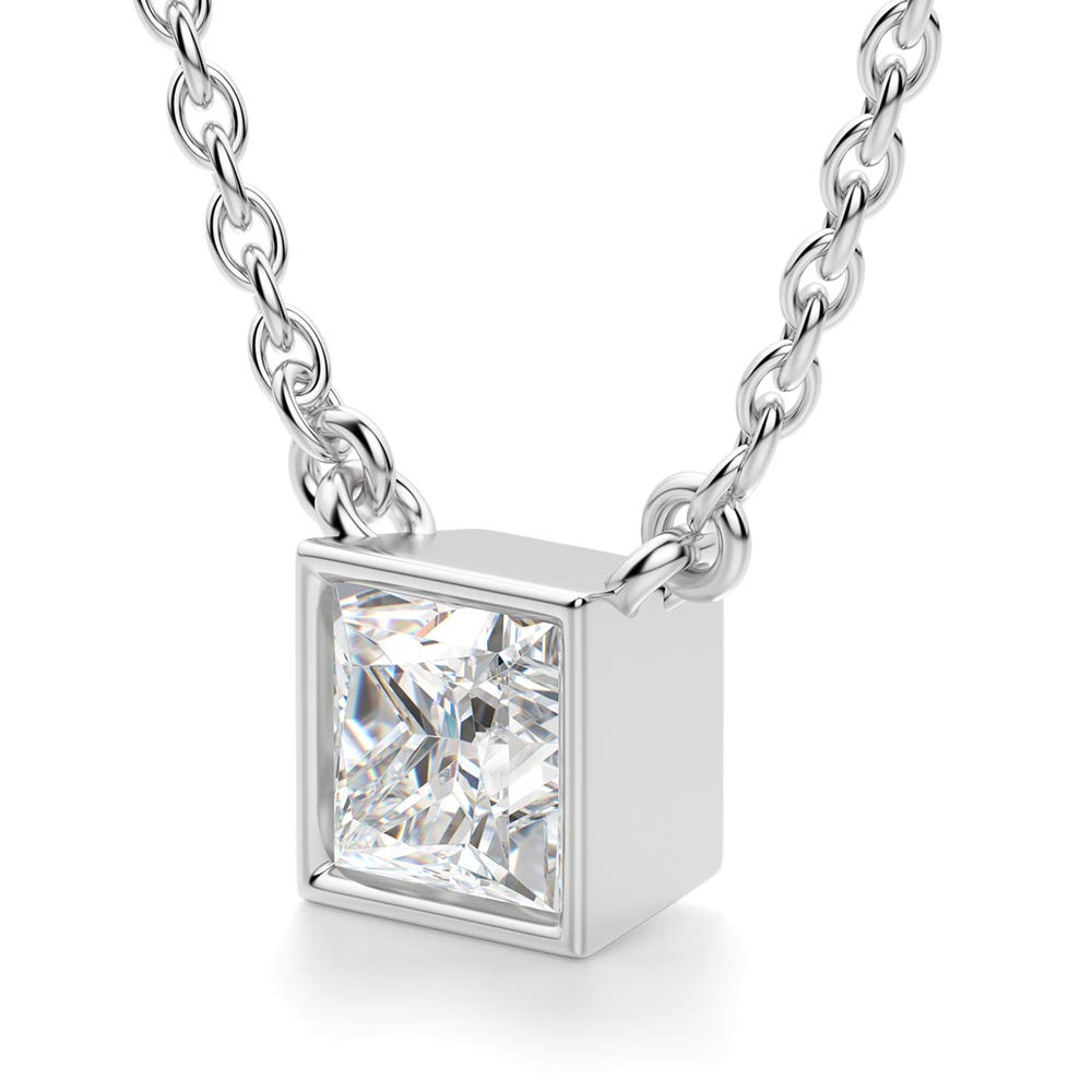 2.00 Ct Princess Cut Simulated Diamond Bezel Set Solitaire Pendant With 18 Chain 14k White Gold Finish