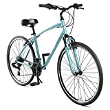 Retrospec Barron Comfort Hybrid Bike 21-Speed with Front Suspension and 700c Wheels with Multi-Surface Tires