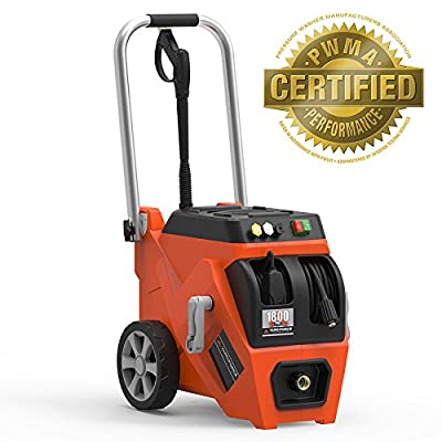 YARD FORCE 1800 PSI Electric Pressure Washer with Live Hose Reel and Turbo Nozzle