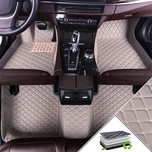 Muchkey Custom Car Floor Mats for Audi A6 2007-2018 Wagon All Weather Non-Slip Full Coverage Protection Luxury Leather Car Liner Set Gray