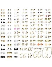 Milacolato 93 par blandade flera örhängen set för kvinnor tonåringar flickor söta enkla falska pärlor ring örhängen bar måne stjärna CZ stiftörhänge smycken