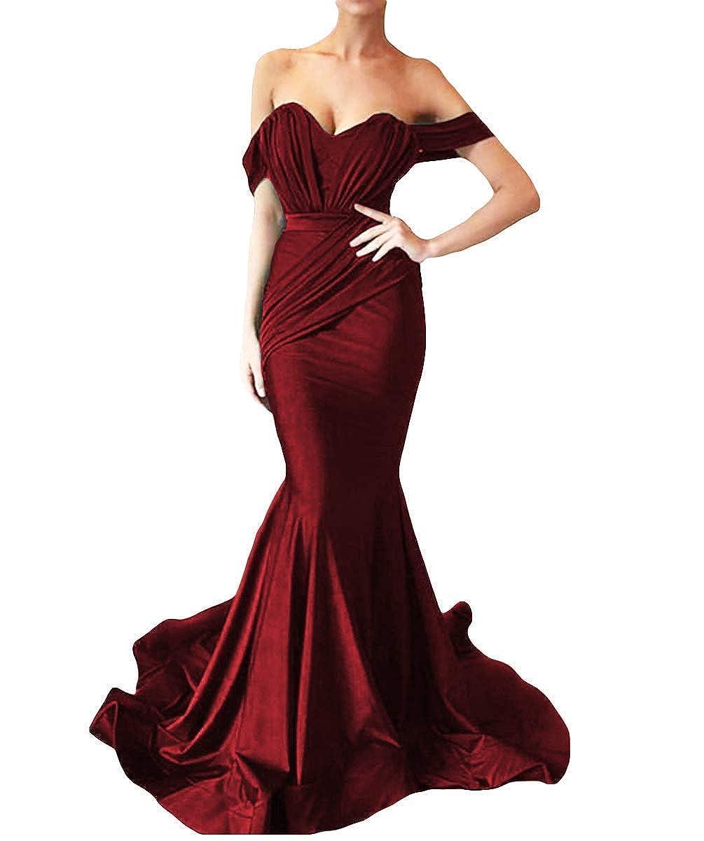 Burgundy Sulidi Women's Off Shoulder Mermaid Sweetheart Prom Dresses 2018 Satin Long Evening Dress C061