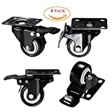 DICASAL 2 '' Heavy Duty Swivel Plate Casters PU Foam Quite Mute No Noise Castors Markless Rubber Wheels Double Bearings and Locks Loading 300 Lbs Pack of 4 with Brake Black