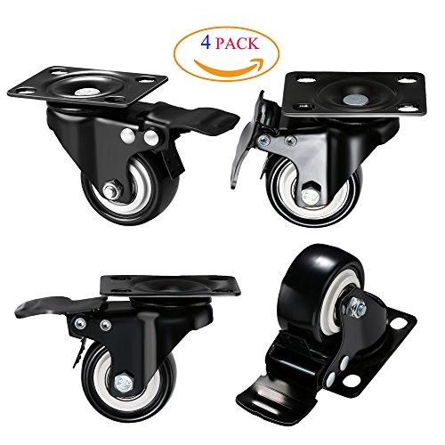 DICASAL 2 '' Heavy Duty Swivel Plate Casters PU Foam (4 Dual Wheel Casters)