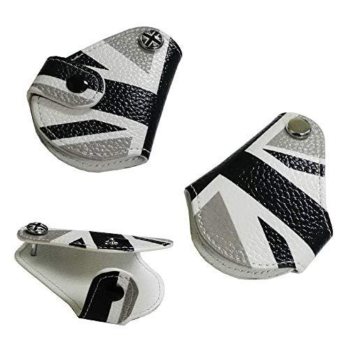 iJDMTOY (1 Black White Union Jack UK Flag Style Real Leather