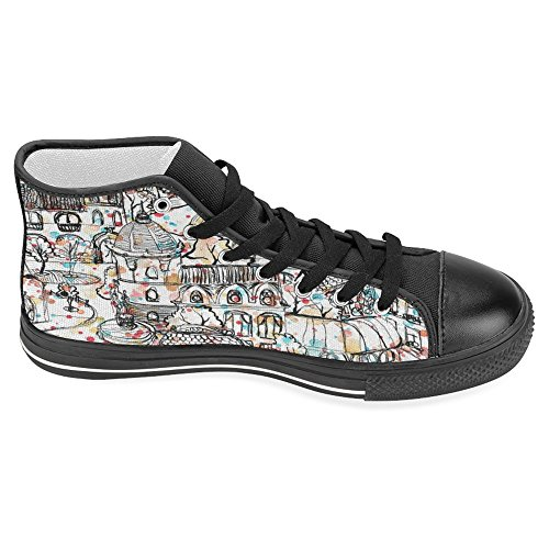 Interestprint Mujer Zapatos De Lona High Top Trainers Zapatos Planos Lace Up Sneakers Fashion Form Old Town Black